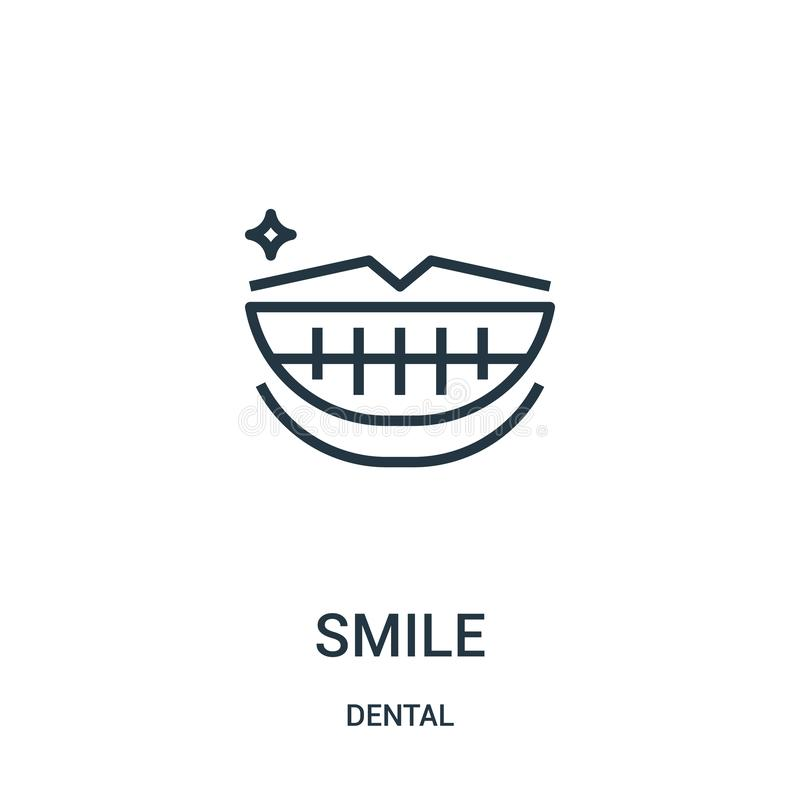 Smile icon vector from dental collection. Thin line smile outline icon vector illustration. Linear symbol. For use on web and mobile apps, logo, print media stock illustration