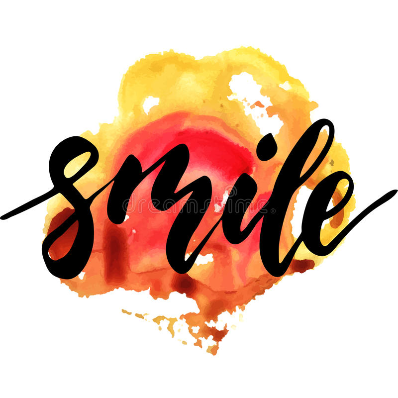 Smile - inspirational lettering design. For posters, flyers, t-shirts, cards, invitations, stickers, banners. Hand painted brush pen modern calligraphy isolated vector illustration
