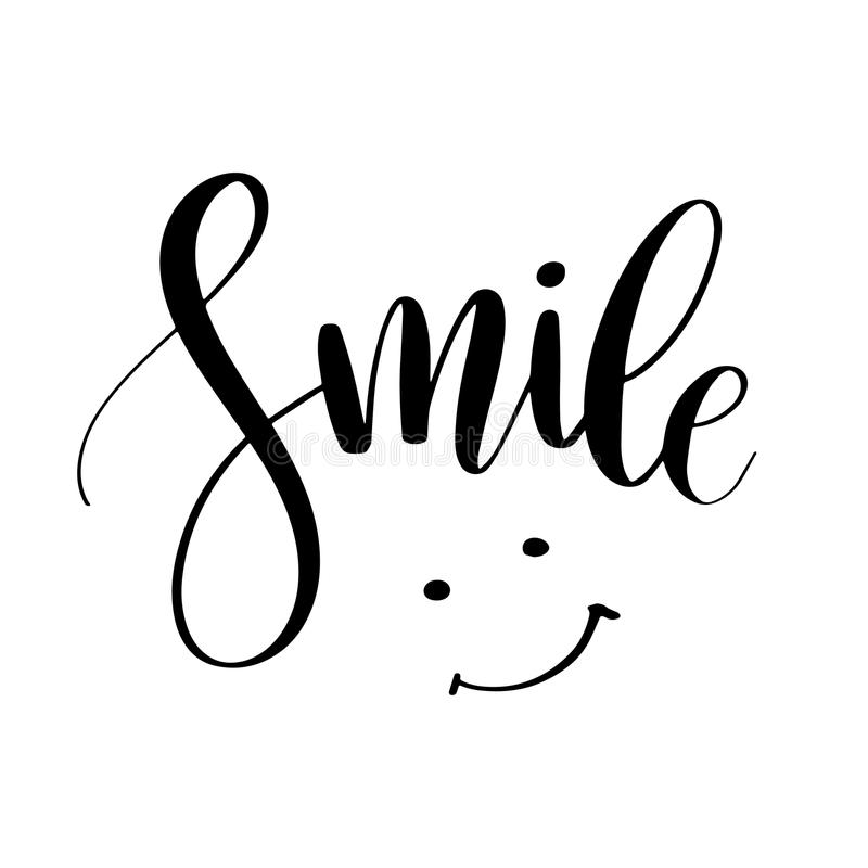 Smile. Inspirational quote phrase. Modern calligraphy lettering with hand drawn smile. Lettering for web, print and posters. Typography poster design royalty free illustration