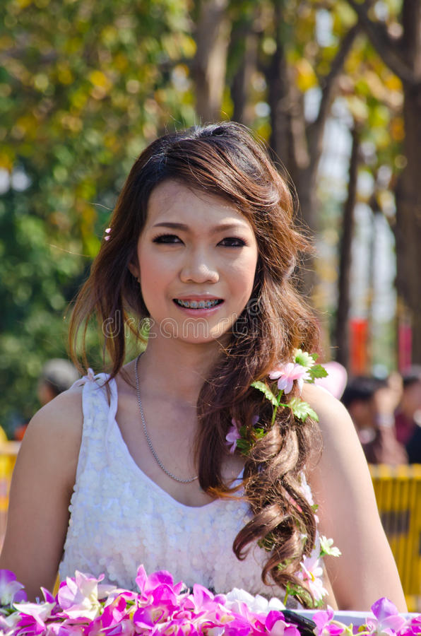 Smile of Lady in Chiangmai Flower Festival 36th.