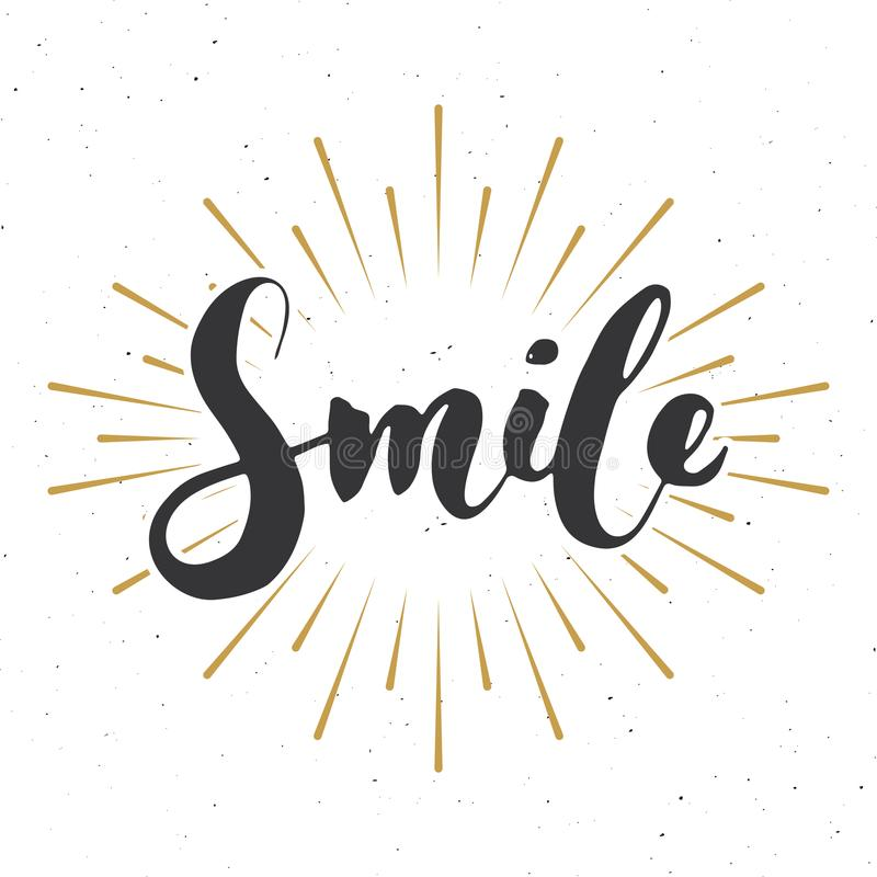 Smile lettering handwritten sign, Hand drawn grunge calligraphic text. Vector illustration royalty free illustration