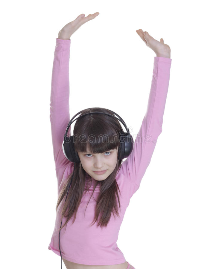 Download The Smile Little Girl In Headphones Stock Photo - Image: 13131538