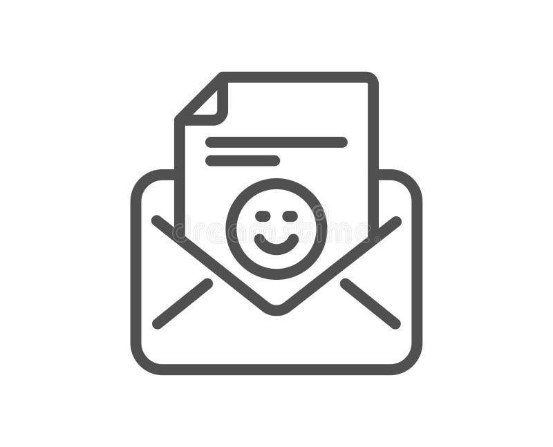 Smile mail line icon. Positive feedback letter sign. Vector. Smile mail line icon. Positive feedback letter sign. Customer satisfaction symbol. Quality design royalty free illustration