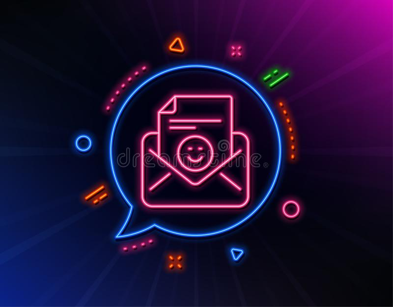 Smile mail line icon. Positive feedback letter sign. Vector vector illustration