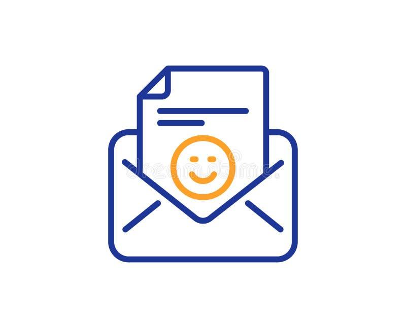 Smile mail line icon. Positive feedback letter sign. Vector. Smile mail line icon. Positive feedback letter sign. Customer satisfaction symbol. Colorful outline stock illustration