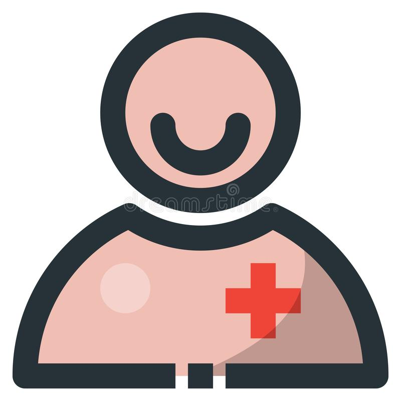 Smile Man Vector Filled Line Icon 32x32 Pixel Perfect. Editable. 2 Pixel Stroke Weight. Colorful Medical Health Icon for Website Mobile App Presentation vector illustration
