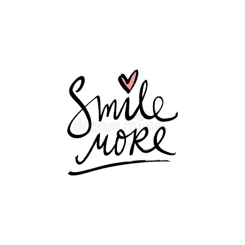 Smile more fashion print. Hand writing text postcard. Modern quote. Good for t-shirt, posters, cards and stationery. Letters banner royalty free illustration
