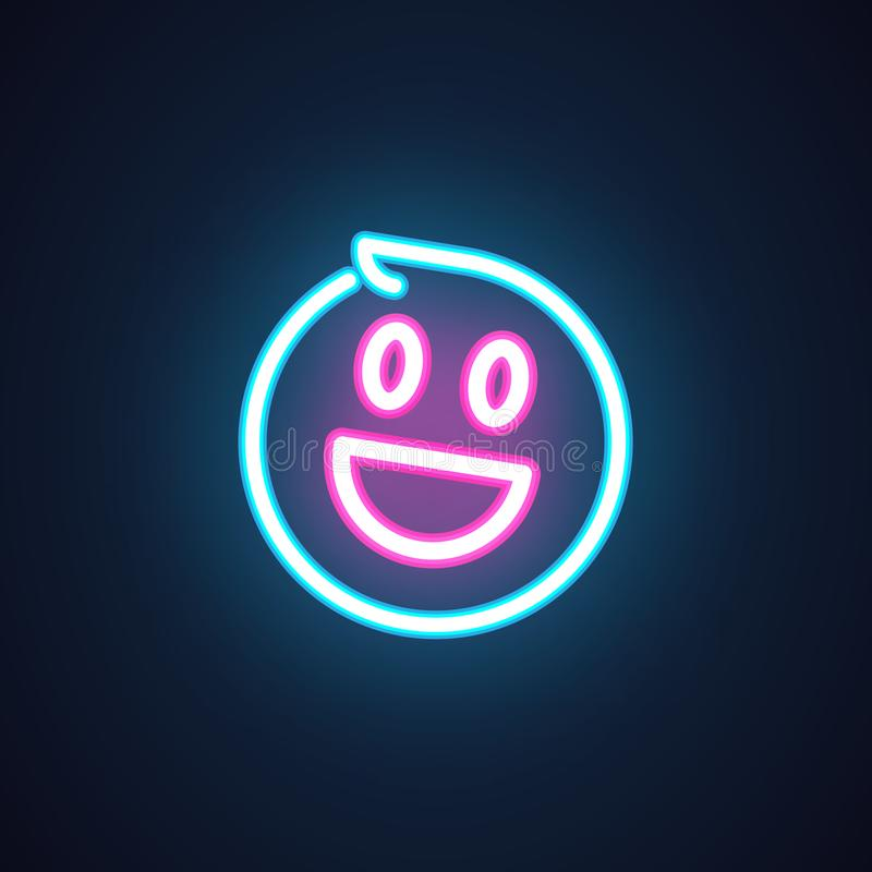 Smile neon icon. Happy emoji illumination symbol. Label isolated on black. Element of interface or promotional items. Smile neon icon. Happy emoji illumination royalty free illustration