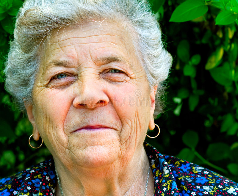 Smile Of One Senior Old Content Woman Royalty Free Stock Photos