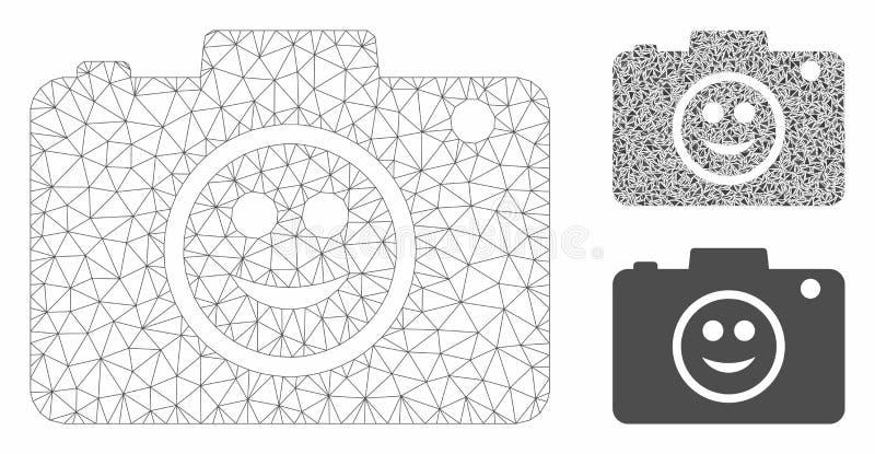 Smile Photo Camera Vector Mesh Modelo de marco de malla y icono de mosaico triangular stock de ilustración