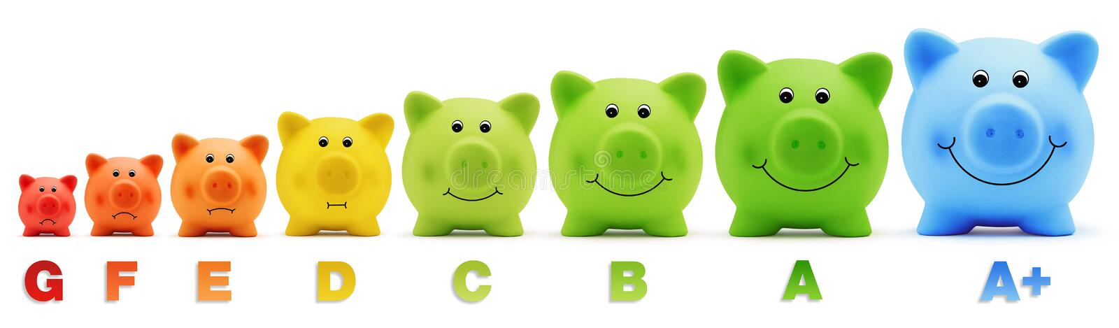 Smile piggy bank scale class color energy savings. Various piggy bank scale class color energy savings stock photography