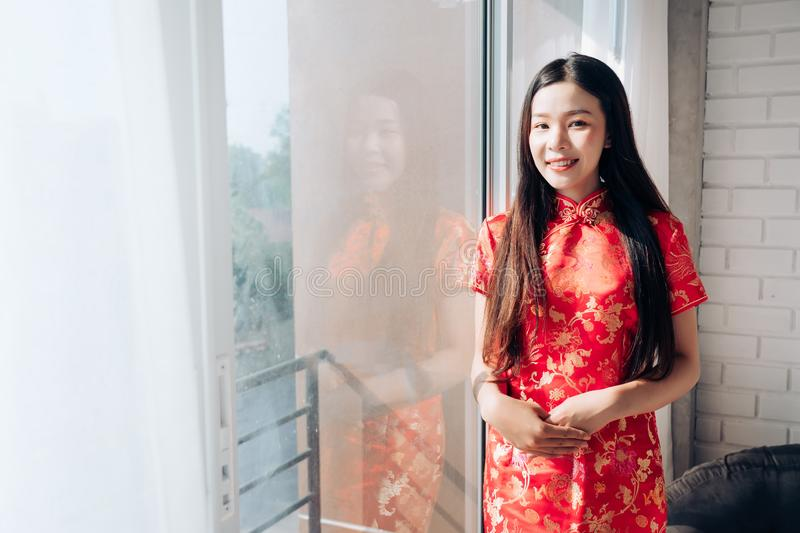 Smile of Portrait Beauty Asian Woman with Chinese dress stock image