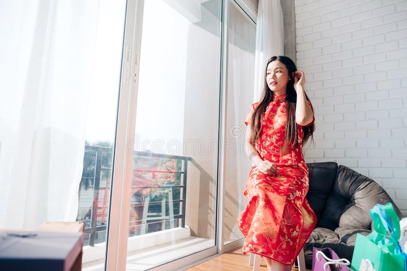 Smile of Portrait Beauty Asian Woman with Chinese dress royalty free stock photos