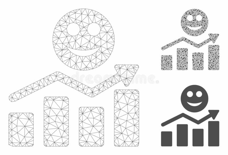 Smile Positive Trend Vector Mesh Network Model and Triangle Mosaic Icon. Mesh smile positive trend model with triangle mosaic icon. Wire carcass polygonal mesh vector illustration