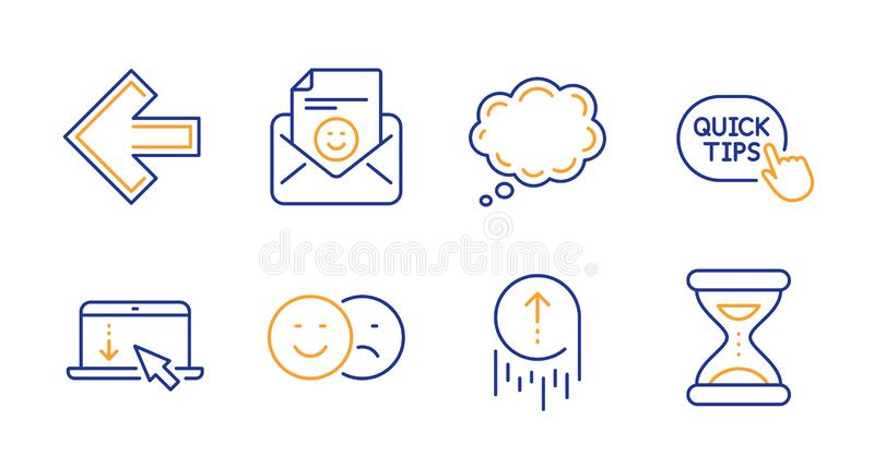 Smile, Scroll down and Comic message icons set. Swipe up, Quick tips and Like signs. Left arrow, Time symbols. Vector. Smile, Scroll down and Comic message line stock illustration