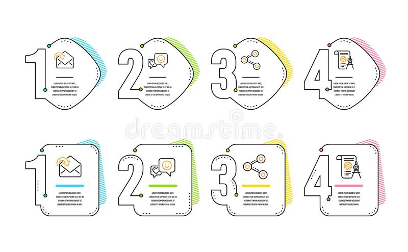 Smile, Share and Receive mail icons set. Divider document sign. Socila media, Follow network, Incoming message. Vector stock illustration