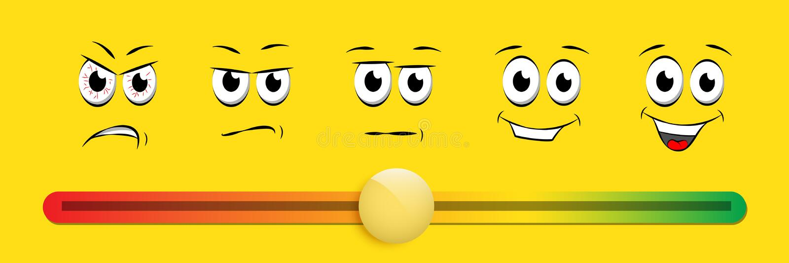 Smile slider rating flat vector illustration on yellow background royalty free illustration