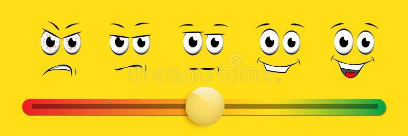 Smile slider rating flat vector illustration on yellow background royalty free illustration