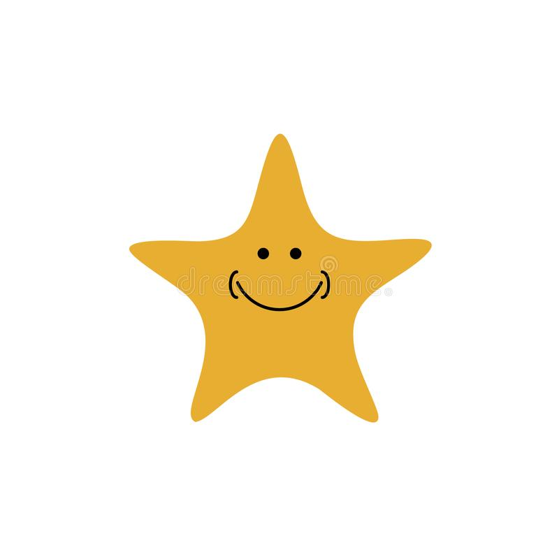 Smile star icon logo - vector illustration. Minimalist stock illustration