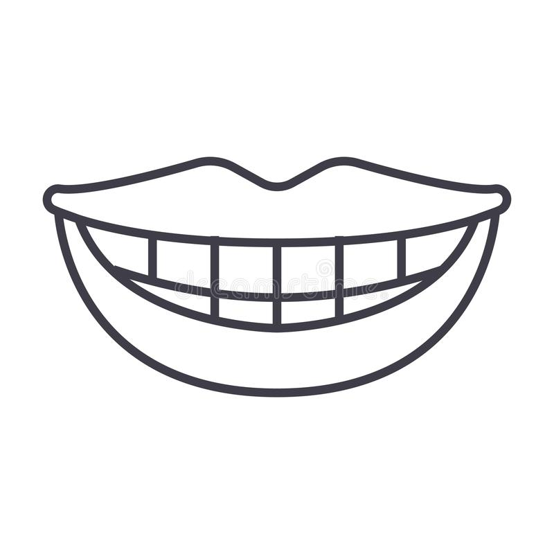 Smile, teeth, mouth vector line icon, sign, illustration on background, editable strokes stock illustration
