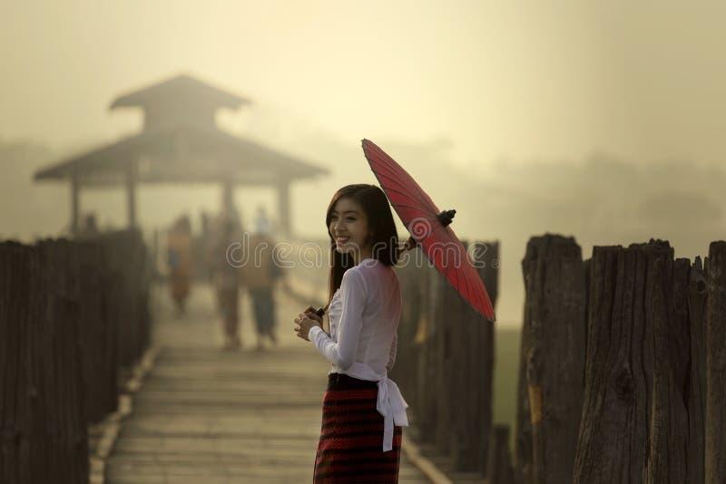 Smile of U Bein Bridge royalty free stock photos