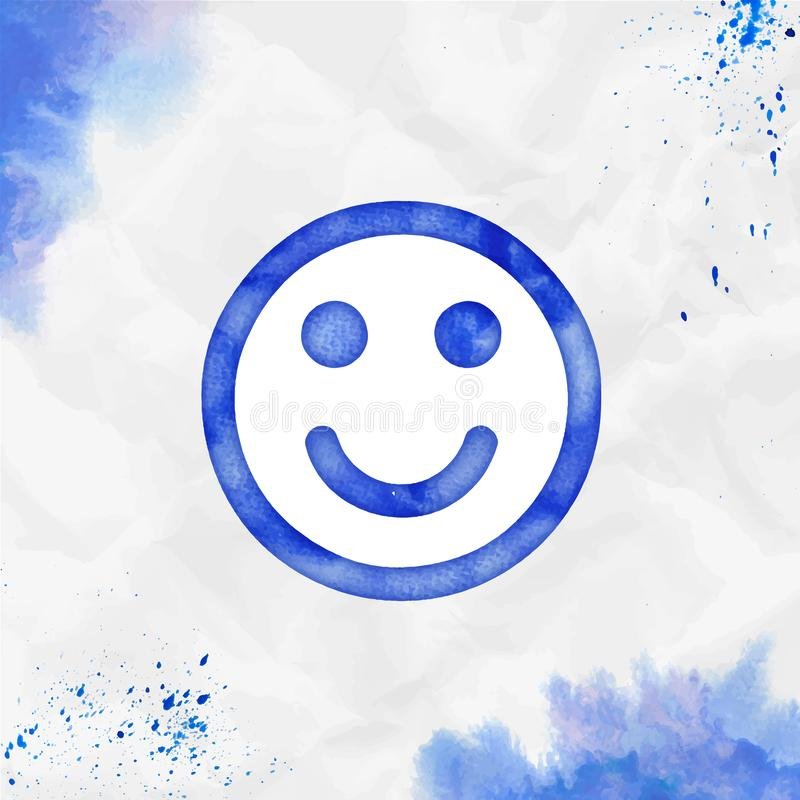 Smile watercolor icon. Beauteous hand drawn style symbol. Uncommon watercolor symbol. Modern design for infographics or presentation stock illustration
