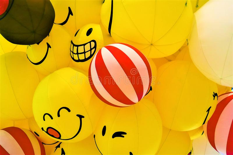 Smile yellow balloon royalty free stock image