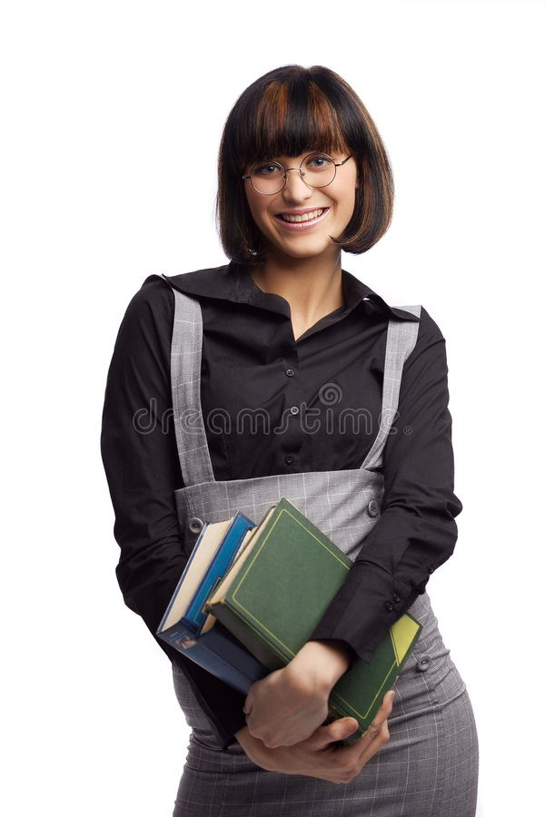 Download Smiled Brunette Schoolgirl Hold Books In The Hands Stock Image - Image: 8979307
