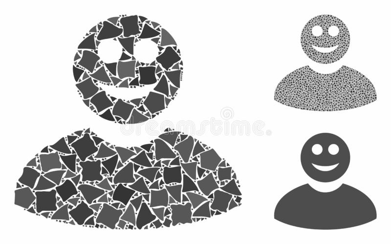 Smiled man Composition Icon of Tuberous Pieces. Smiled man composition of ragged parts in different sizes and color tinges, based on smiled man icon. Vector stock illustration
