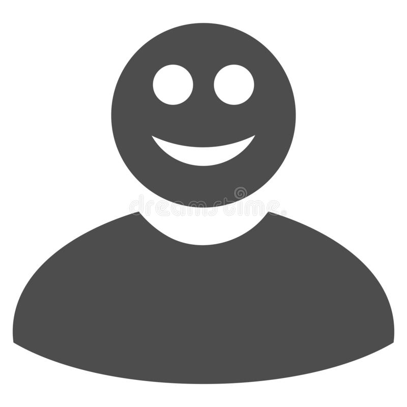 Smiled Man Flat Icon. Smiled man raster icon. Style is flat graphic grey symbol vector illustration