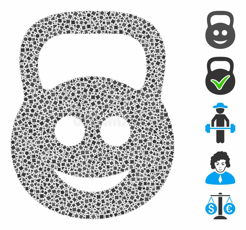Smiled ton weight Mosaic Icon of Humpy Elements. Smiled ton weight icon composition of raggy parts in different sizes and color tinges, based on smiled ton stock illustration