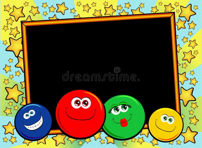 Smiles background. Graphic background with black slate and funny smiley faces royalty free illustration