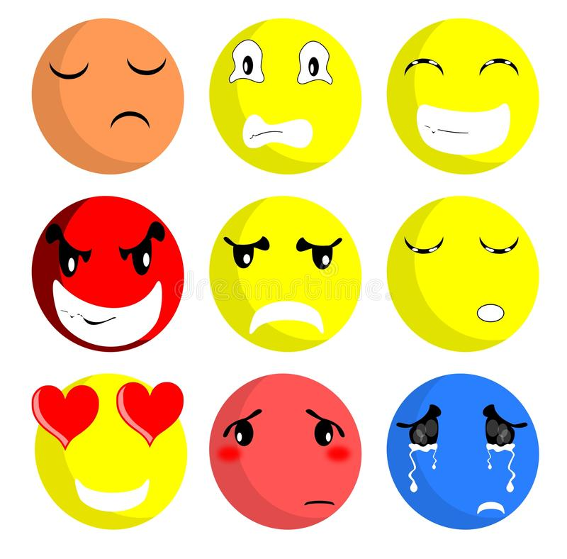 Smiles expression. Illustration representing expression and moods through the smiles stock illustration