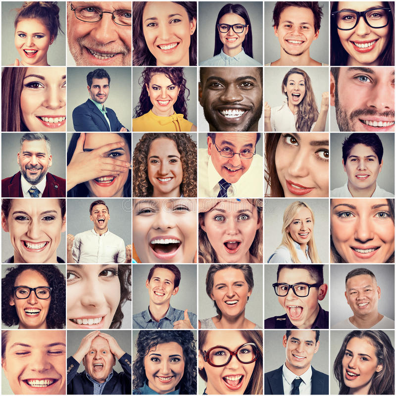 Smiles. Happy men and women royalty free stock photos