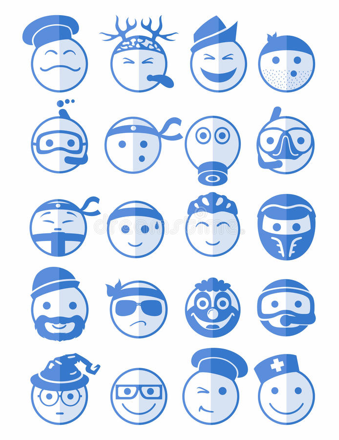 20 smiles icons set profession blue vector illustration