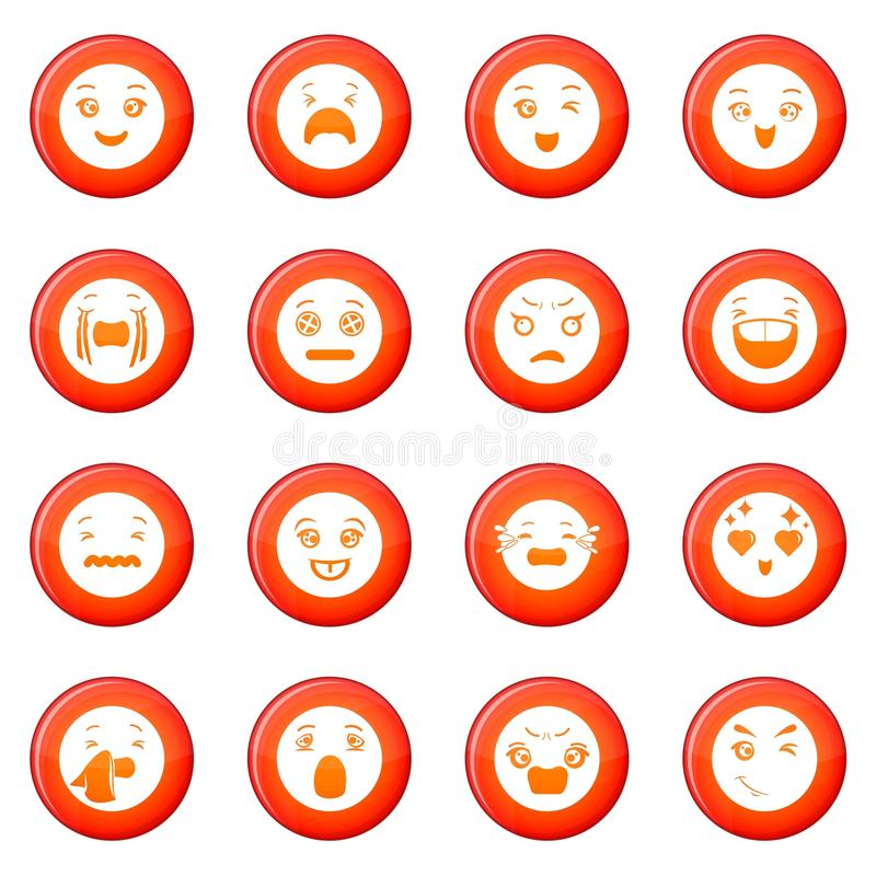 Smiles icons set red vector stock illustration