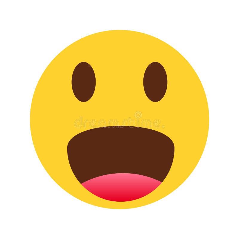 Smiley żółty twarzy emoji na białym tle royalty ilustracja