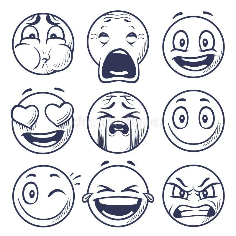 Smiley σκίτσων Εικονίδια έκφρασης χαμόγελου, emoticons πρόσωπα Το χέρι σύρει τους διανυσματικούς χαρακτήρες διάθεσης ελεύθερη απεικόνιση δικαιώματος