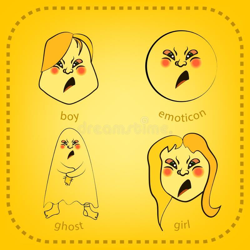 Smiley вектора Милая маленькая тварь Выражает эмоции Комплект стоковое изображение