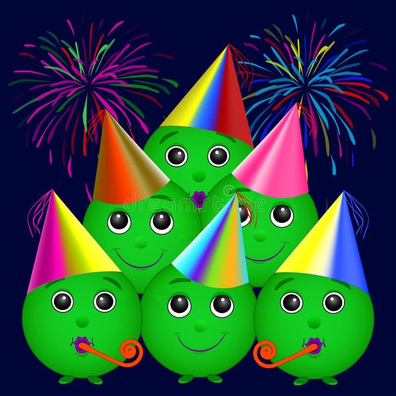 Smiley зеленый цвет в шляпах праздника, праздник Салют r r бесплатная иллюстрация