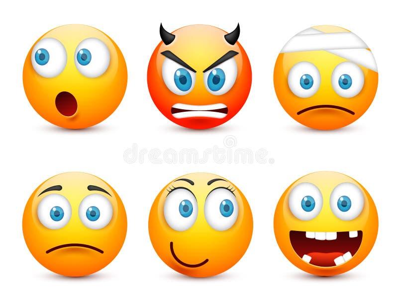 Smiley, набор смайлика Желтая сторона с эмоциями, настроение Выражение лица, реалистическое emoji Грустные, счастливые, сердитые  иллюстрация вектора