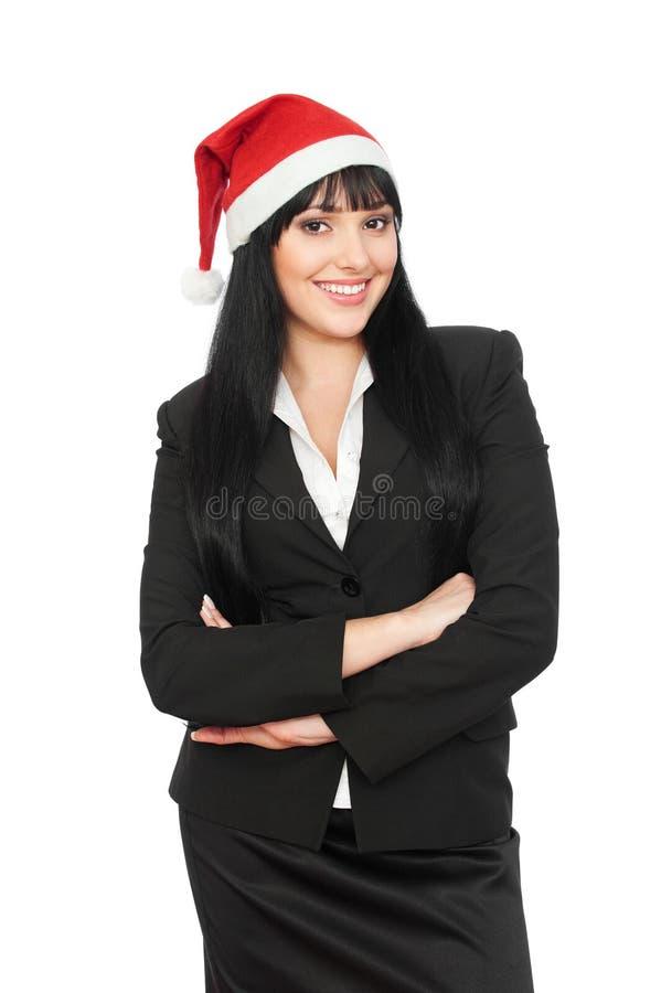 smiley рождества коммерсантки стоковое изображение rf