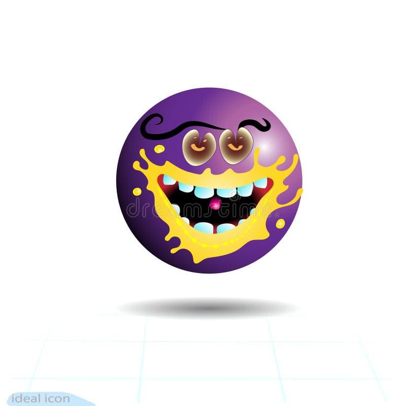 Smiley, смайлик голодный Фиолетовая сторона с эмоциями Лицевое выражение Реалистическое emoji персонаж из мультфильма смешной Зна иллюстрация вектора