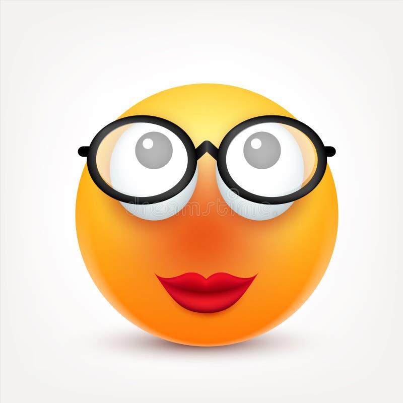 Smiley, сторона с эмоциями Реалистическое emoji Грустное или счастливое, сердитое настроение смайлика головка дерзких милых собак иллюстрация вектора