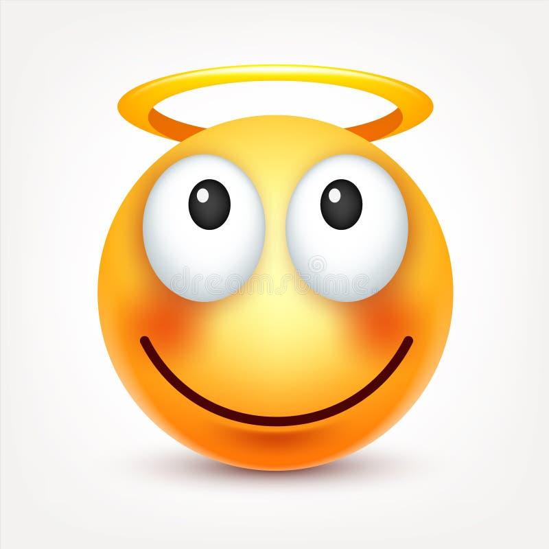 Smiley, сторона с эмоциями Реалистическое emoji Грустное или счастливое, сердитое настроение смайлика головка дерзких милых собак бесплатная иллюстрация