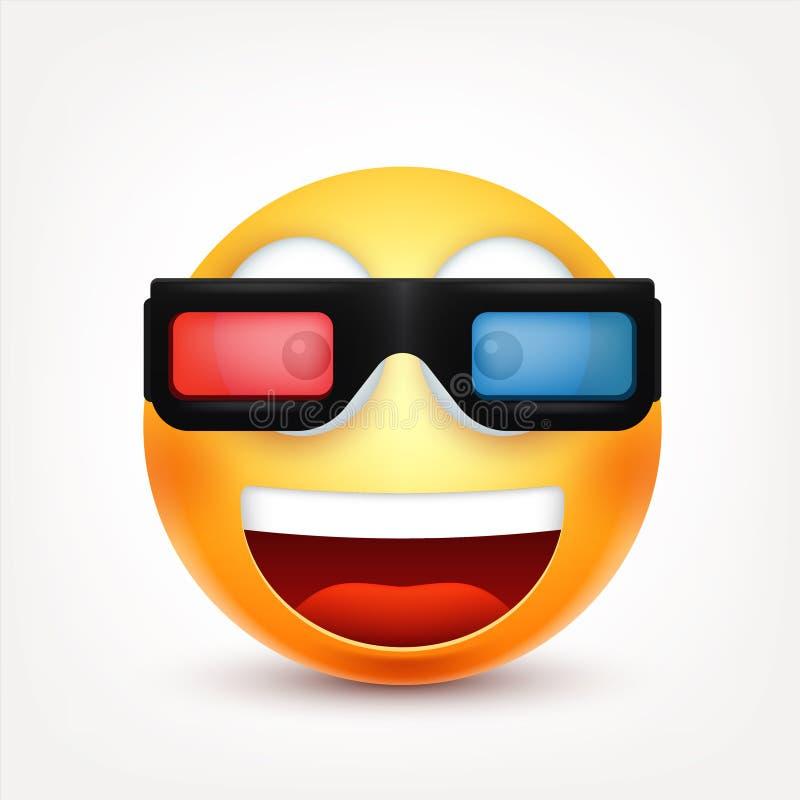 Smiley, сторона с эмоциями Реалистическое emoji Грустное или счастливое, сердитое настроение смайлика головка дерзких милых собак иллюстрация штока
