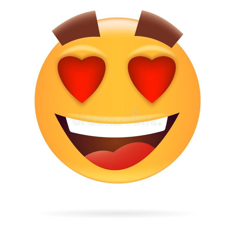 smiley Характер в влюбленности Стиль значка Счастливое illustr вектора стороны бесплатная иллюстрация