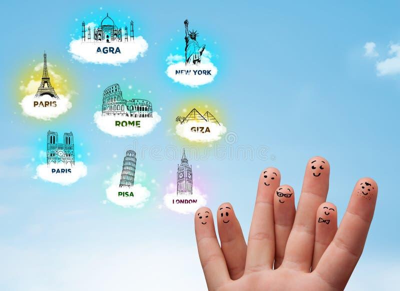 Smiley alegres do dedo com ícones sightseeing dos marcos imagens de stock royalty free