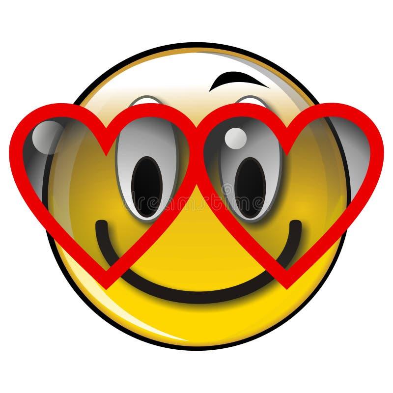 Smiley amarelo lustroso feliz na tecla do amor ilustração do vetor