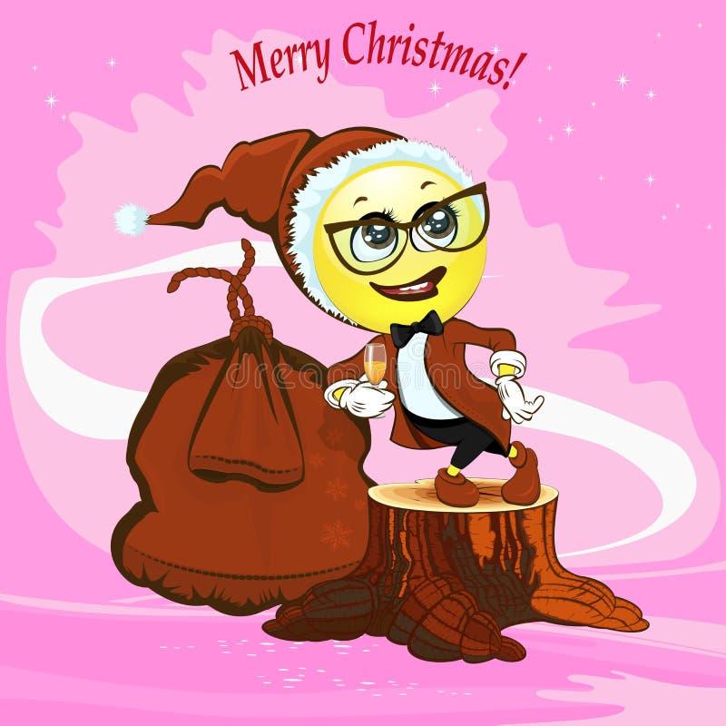 Smiley amarillo de la Navidad ilustración del vector